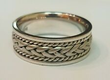 Solid 14kt white gold mens braided fox wedding band ring