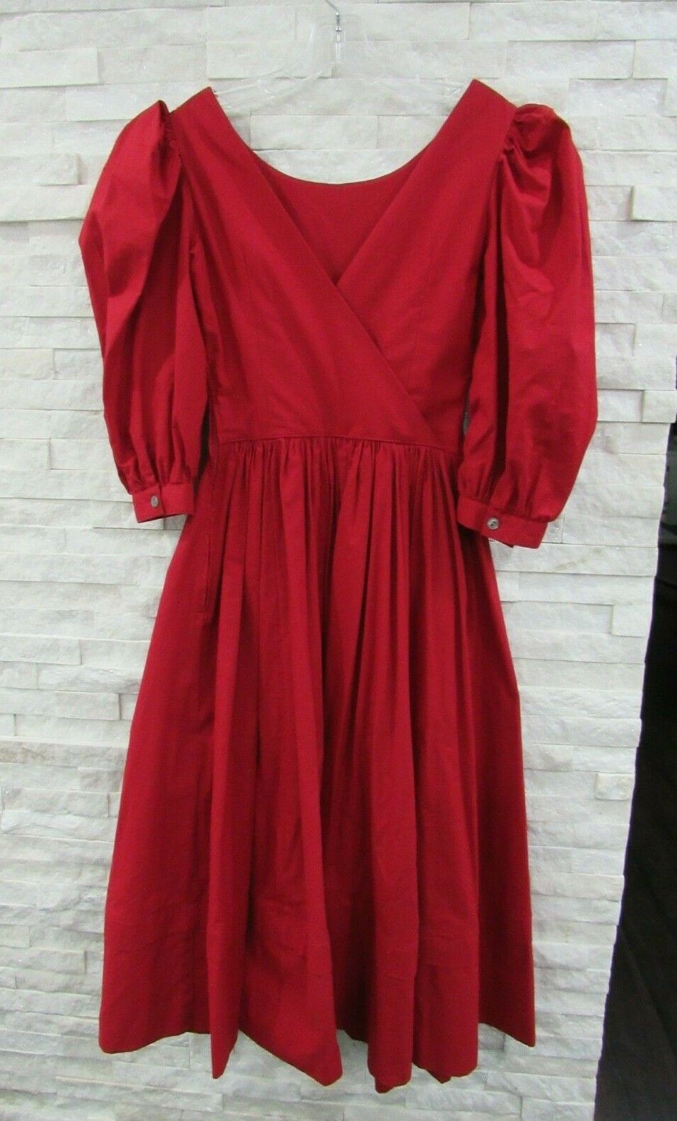 Vintage Laura Ashley 90s Red Heavy Cotton Puff Sl… - image 4