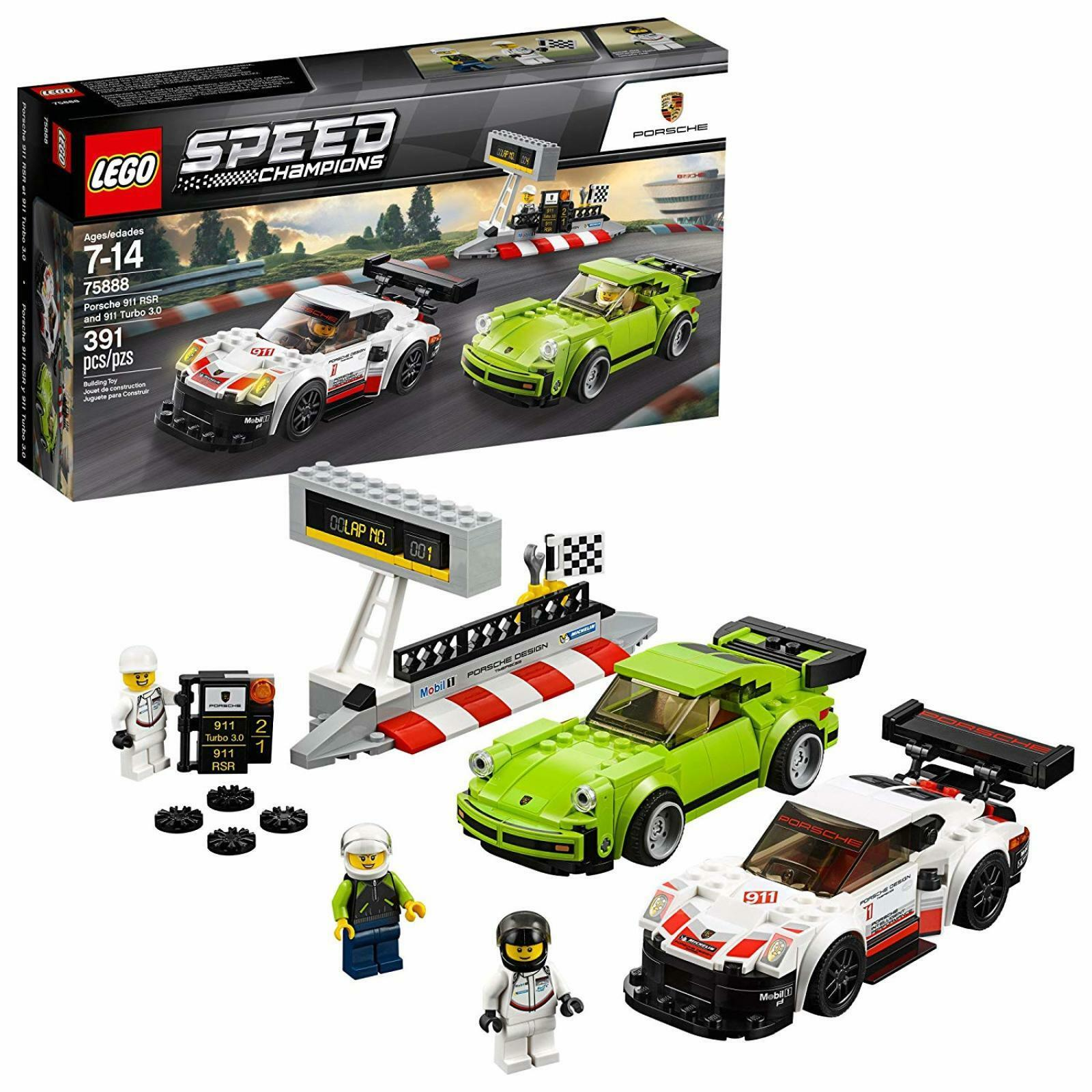 Kit de juego de construcción Lego Porsche 911 Cocherera Coche Ruedas Motor Regalo Diverdeido Racing amigos