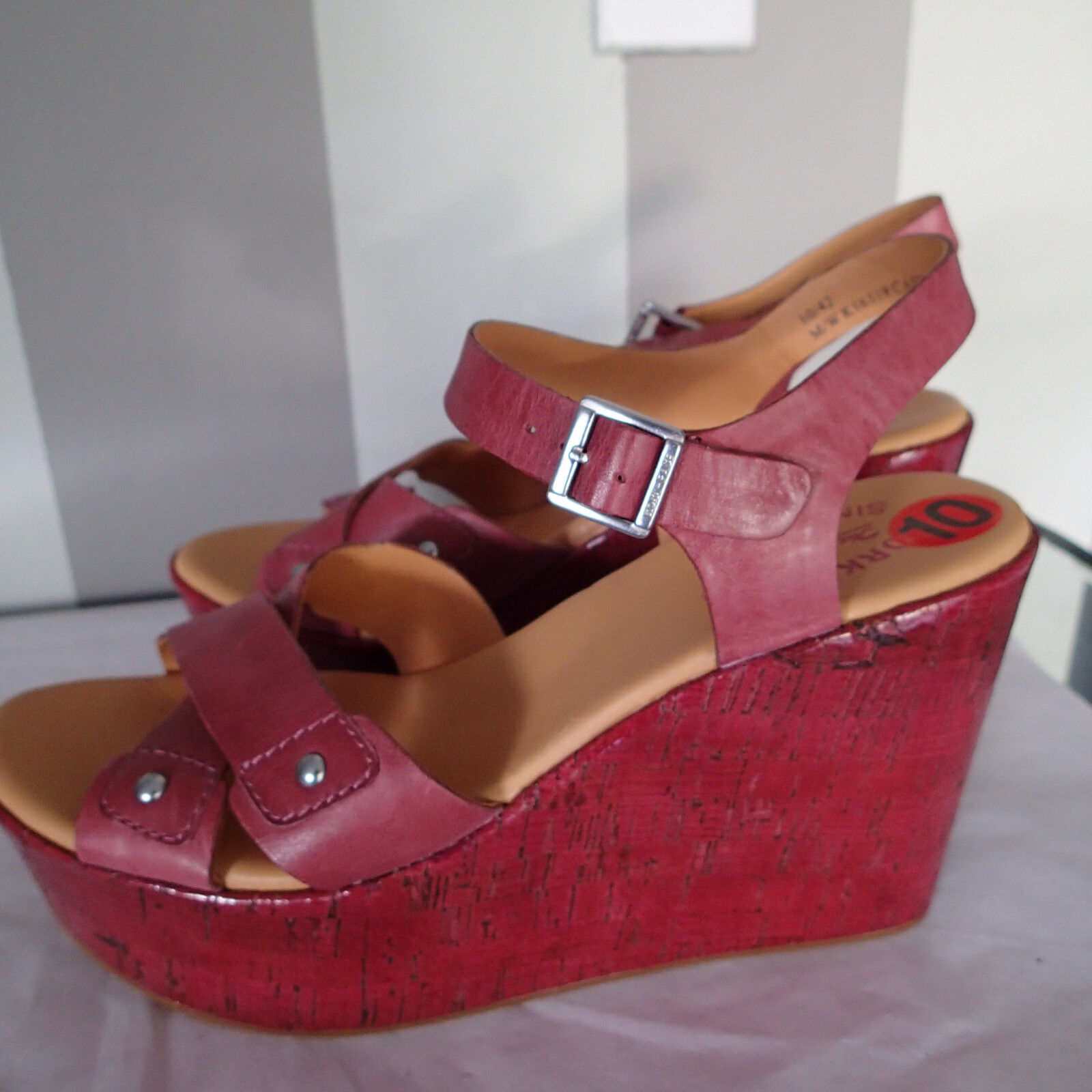kork ease  schuhe  Sandale  wedge platform NEU Größe 10 Leder ankle strap   k