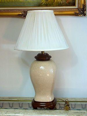 Vintage Porcelain Tan Brown Ginger Jar Style Table Lamp