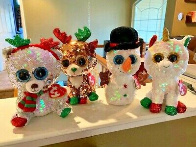 "SET of 3 TY 2019 Christmas Flippables 6/"" MISTLETOE MELTY TEGAN Sequin Plush MWMT"