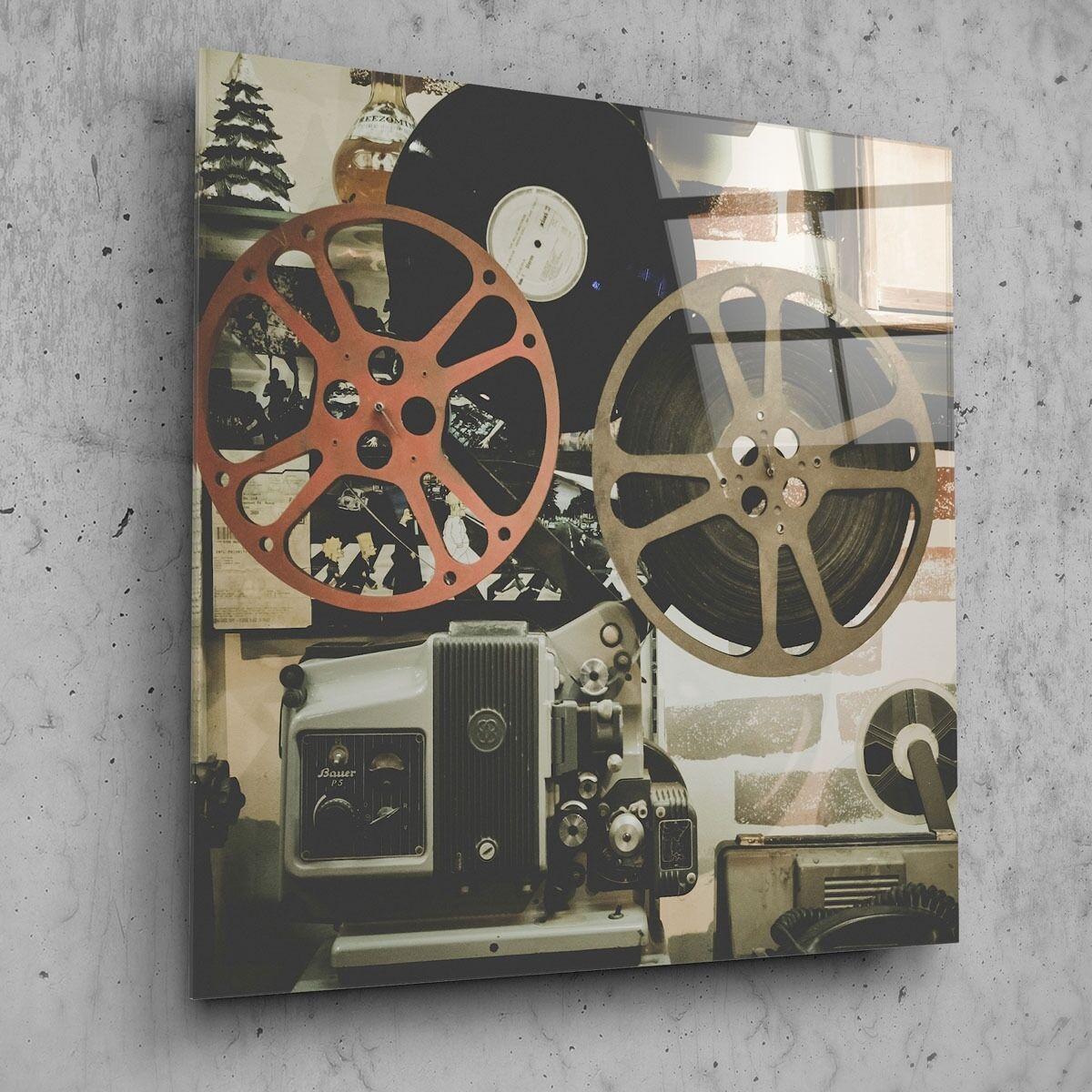 70x70cm Wall Art Glass Print Picture Film Movie Vintage Projector p27008 FREE DE