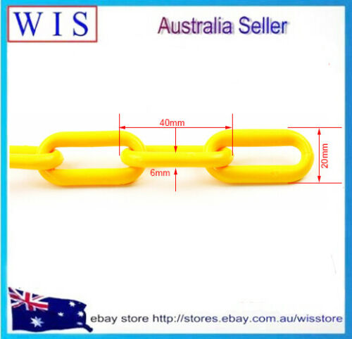 6mm x 25m YLW Plastic Chain Roll,Commercial Plastic Barrier Chain,UV stabilised