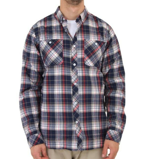 Mens Size XS Blue Plaid Snowboard Burton Analog Balance ATF Flannel Shirt