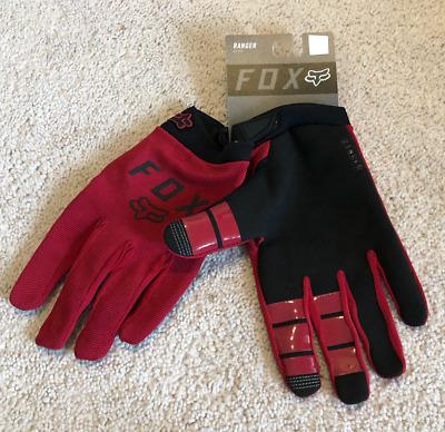 Fox MTB // BMX Bicycle Ranger Gel Full Finger Gloves Cardinal Red