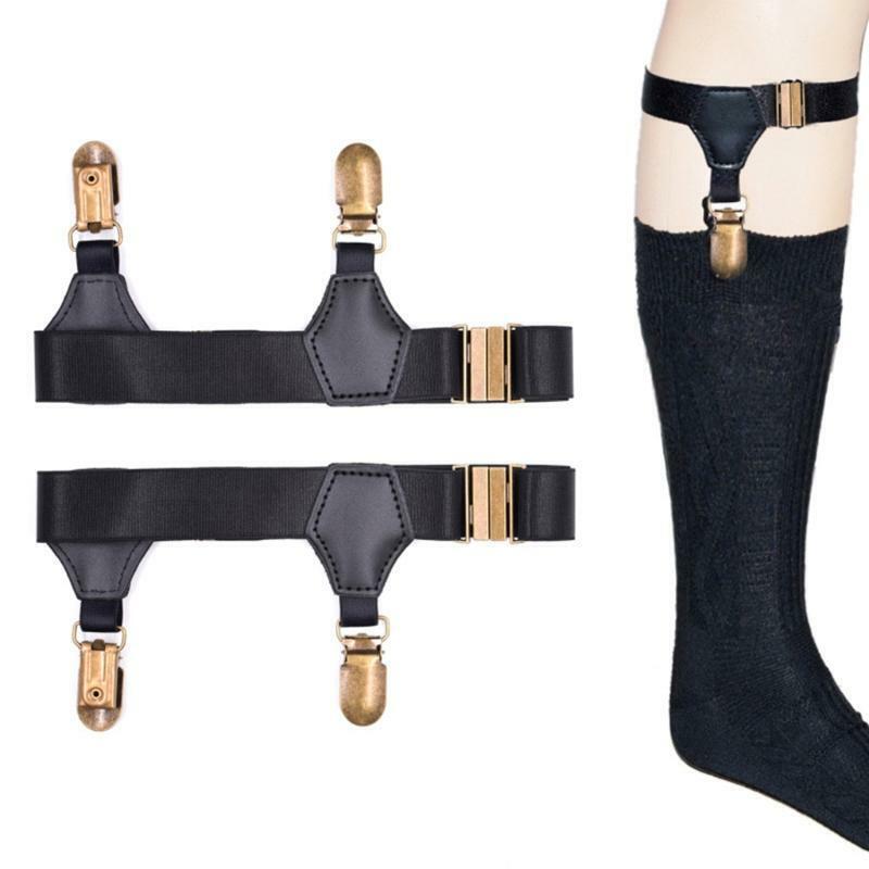 Black Socks Suspenders Holder Garters Belt with Double Metal Non-Slip Clips