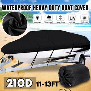 210D-Extra-Heavy-Duty-Boat-Cover-Trailerable-Ski-Fish-V-hull-Marine-11ft-13ft-UK