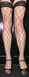2-Pairs-Large-Black-Fence-Net-Whale-Net-Fishnet-Toe-Lace-top-Hold-up