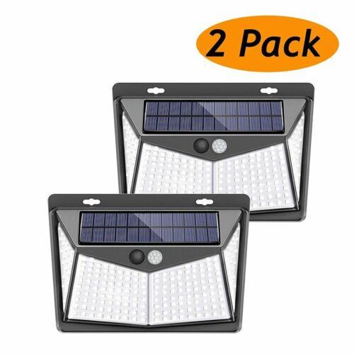 4x 208LED Solar Security Light PIR Motion Sensor Garden Yard Pathway Wall Lamps
