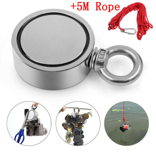 60-300KG Round Neodymium Fishing Salvage Magnet Double Sided Pulling Force