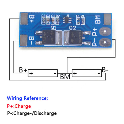 2S 8A 7.4V w// Balance 18650 Li-ion lithium battery BMS charger protection boa DD