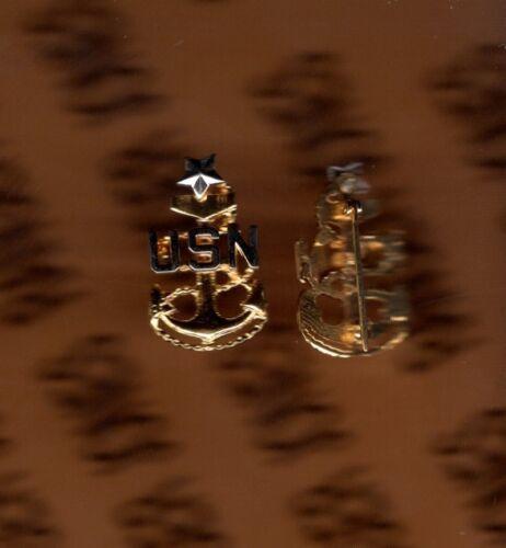 "USN NAVY SCPO Senior Chief Petty Officer E-8 rank badge collar pinback p//b 1/"""