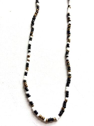 Semilla de cristal perla collar Extra Largo Hippy Amor Playa Festivo Negro Blanco Oro