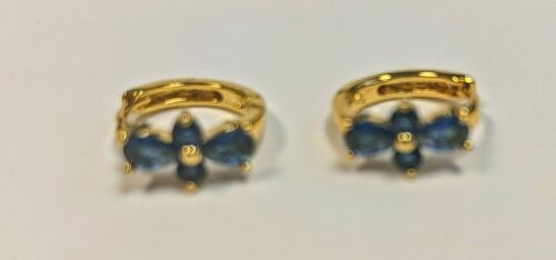 Holiday Blue 14K GF Yellow Gold Huggie Earrings Pierced child Girl Small Gift