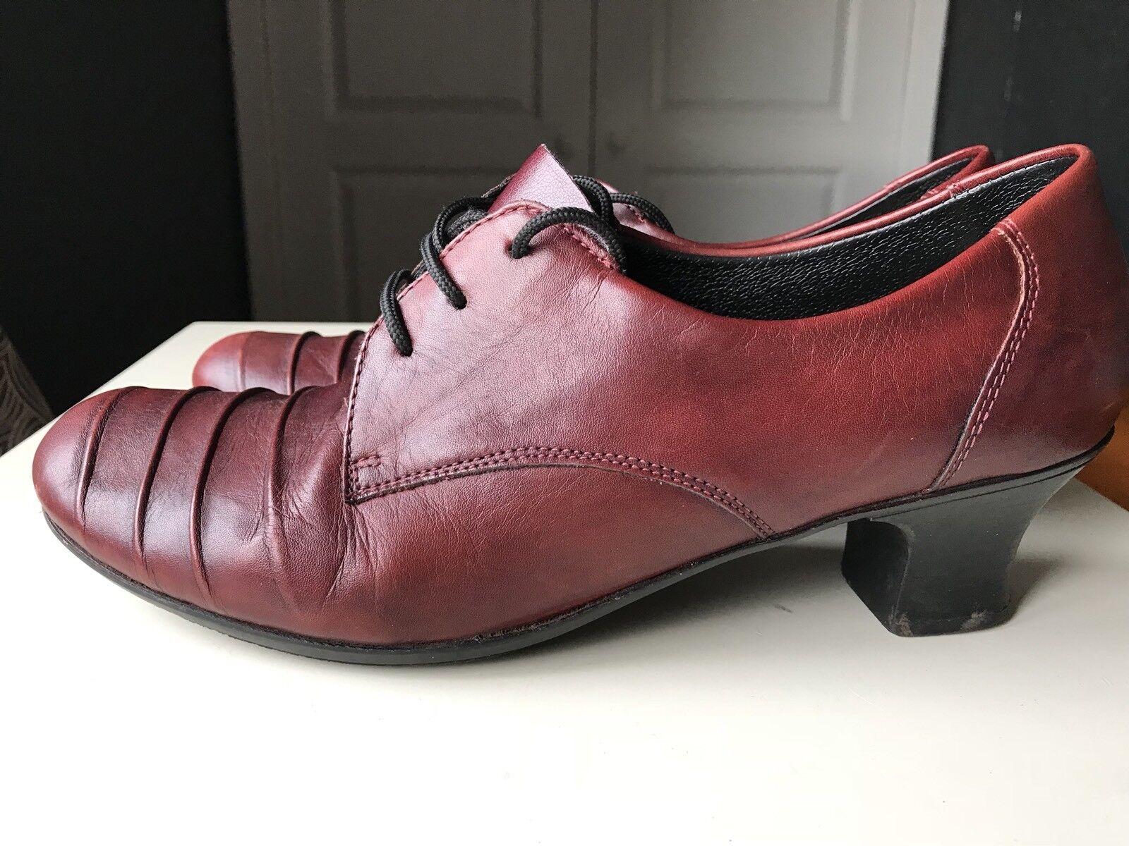 Rieker Designer Ladies Women Court High Heel Shoe Leather Burgundy Size 6.5 40