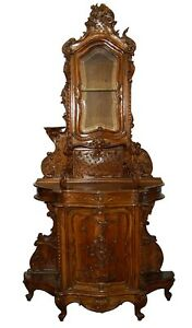 Antique-French-Art-Nouveau-Hutch-Cabinet-with-Floral-Carvings-7371