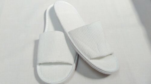 Wholesale White Waffle OPEN Toe Slippers Hotel Spa Weekends Size 29cm From £1.60