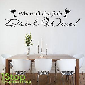 DRINK WINE WALL STICKER QUOTE KITCHEN HAPPINESS HOME WALL ART - Citation sur la cuisine