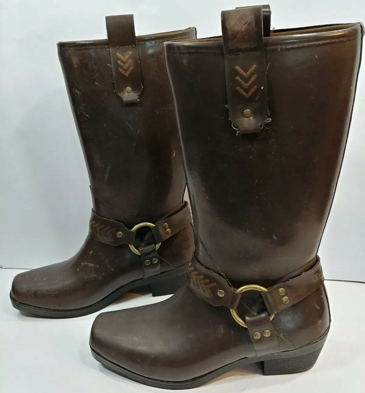 BOGS Dakota Galosh Rain Boots Brown Dingo Moto Waterproof Square Toe Women's 6M