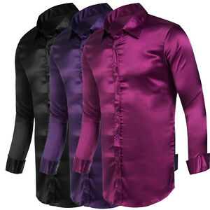 2017 Silk Satin Mens Shirt Dress Shirts Italian Style Long