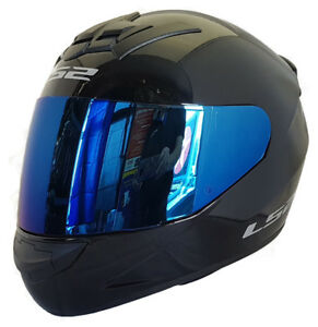 LS2-FF352-ROOKIE-CASCO-INTEGRAL-Motocicleta-ACCIDENTE-Negro-azules-Iridio-Visera