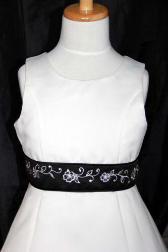 IVORY BLACK GIRLS FLOWER GIRLS BRIDESMAID DRESS WEDDING PARTY SIZE 2 4 6 8 10 12