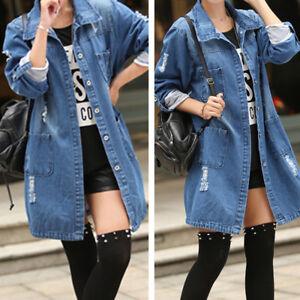 eeabfef63867 Spring Women Casual Long Denim Coat Jacket Outwear Jeans Overcoat ...