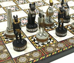 Egyptian Anubis Black and Silver Chess Men Set with Gold Accents NO Board