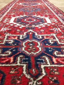 Antique-Used-Handmade-Persian-Karage-Runner-Wool-amp-Cotton-Size-348cm-by-88cm