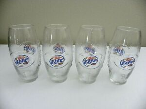 Miller-Lite-Football-Beer-Glass-23oz-Set-of-Four-NEW-Unused-Libbey