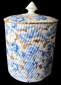 Antique-19th-c-EJD-Bodley-Burslem-Blue-White-Gold-Biscuit-Jar-England-1875-92