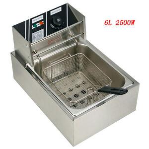 2500W 6L Electric Deep Fryer Commercial Tabletop Restaurant Frying Basket Scoop