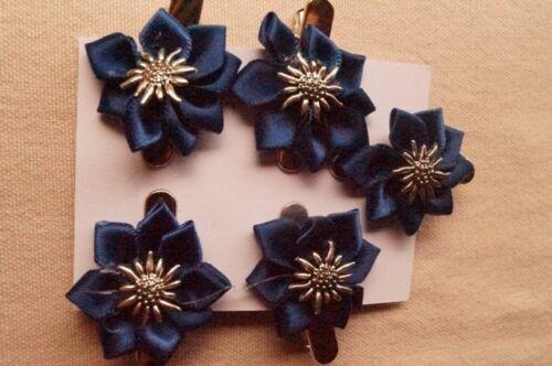 5 Stück Haarspange dunkelblau Edelweiß Satinblume  Dirndl Tracht Oktoberfest