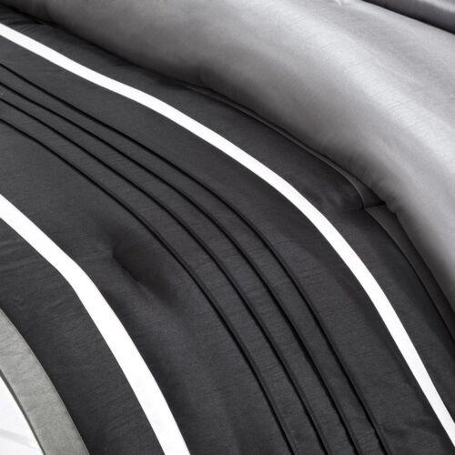 CHIC MODERN ELEGANT BLACK SILVER GREY CHARCOAL IVORY PINTUCK SOFT COMFORTER SET