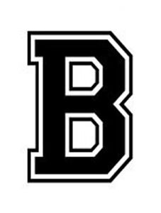 Varsity College Lettering Letter B Car Tablet Vinyl Decal