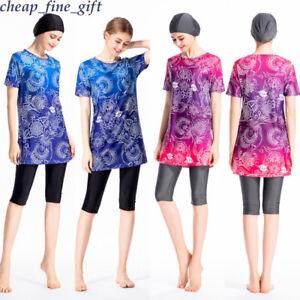 3-Pcs-Women-Short-sleeve-Swimwear-Modest-Muslim-Burkini-Hijab-Islamic-Swimsuit