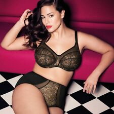 NWT elomi Raquel Underwire Full Banded Bra 4050 BLACK LACE (US) 34J (UK) 34GG