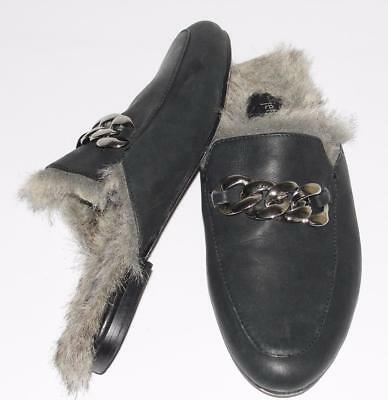 JEFFREY CAMPBELL~NWOB *APFEL FUR-LINED* METAL CHAIN BUCKLE MULE SHOES~7.5~RARE