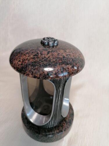 Grablampe Grablaterne Grablicht mit Blumenmotiv Granit Aurora Grab Grabschmuck