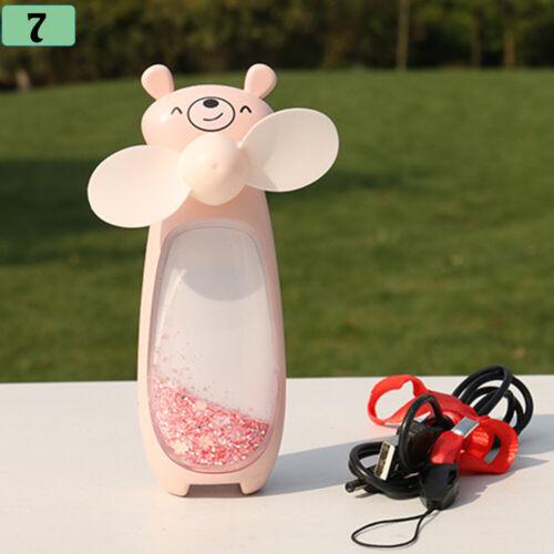 Neck Rechargeable  Small Night Light  Handheld Fan Glittering Sand Mini Fans