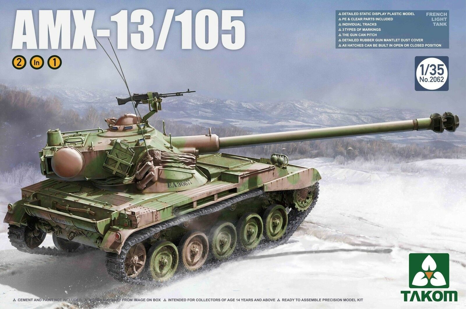 Char léger Français AMX-13 105 - Kit TAKOM 1 35 Réf. 2062