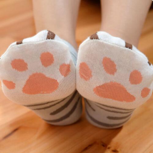 1Pair Kawaii Cute Cats Paw Printed Cotton Socks Cartoon Casual Ankle Short Socks