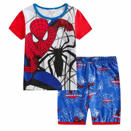Hose Schlafanzug Hausanzug Pyjama Stes Spider man Jungen Kinder Kurzarm Shirt