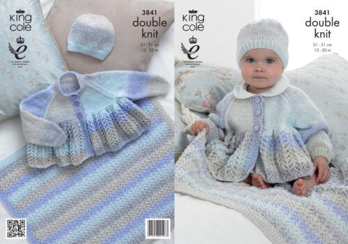 Baby Doble Knitting DK patrón King Cole chaqueta Sombrero Manta efecto de encaje 3841