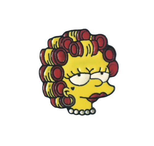 Lisa Simpson in Curlers Enamel Pin Gift The Simpsons fan Feminist Heart Tattoo