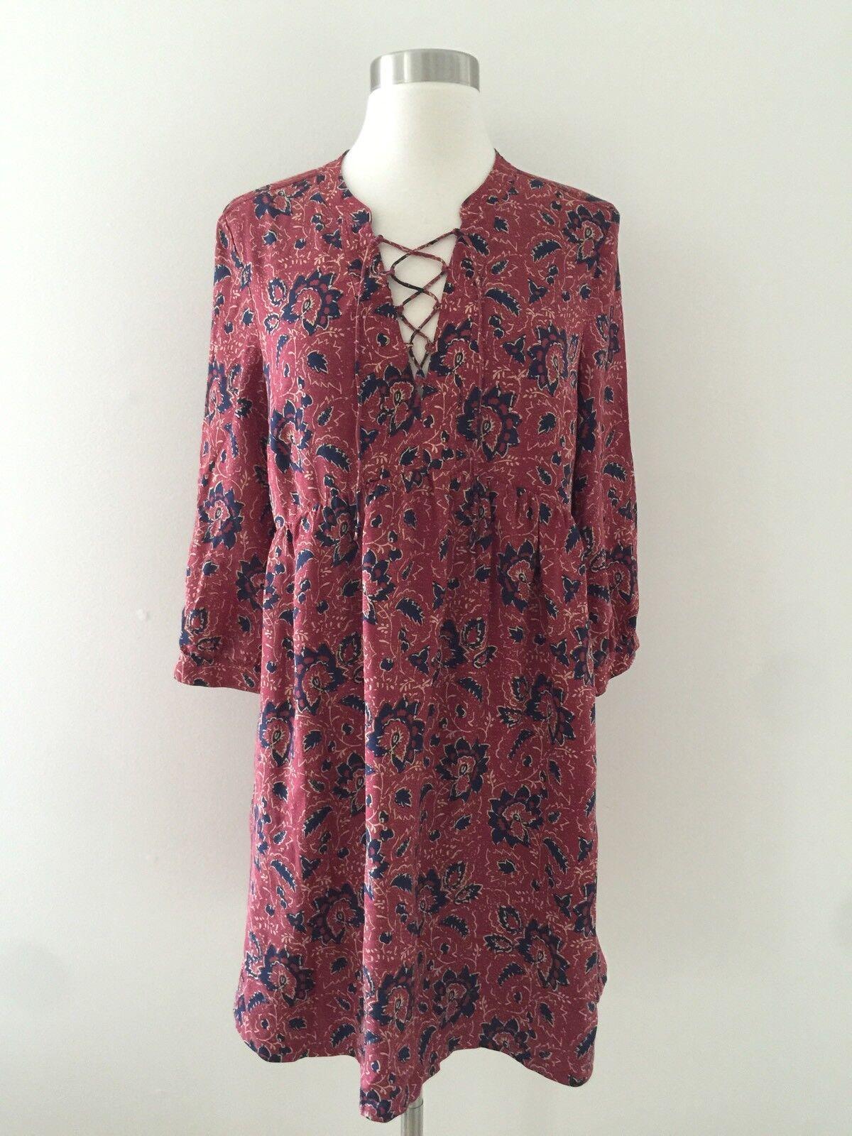 New MADEWELL silk lace-up dress in assam assam assam floral G3054 Small Red bluee 8a1551