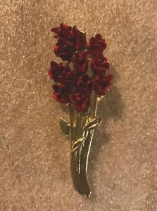 Bouquet Of Flowers Red Roses Brooch Pin Signed Dm 97 Original Box Ebay