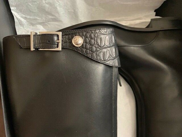 Auth. VERSACE Versus Black Leather SIlver SIlver SIlver Logo Tall Riding Boot 38 NIB  795 275a78
