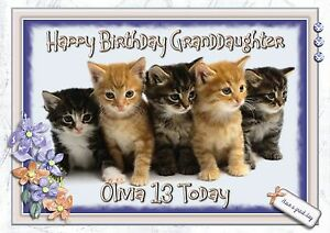 Image Is Loading Personalised Birthday Card Cat Kittens Mum Sister Daughter